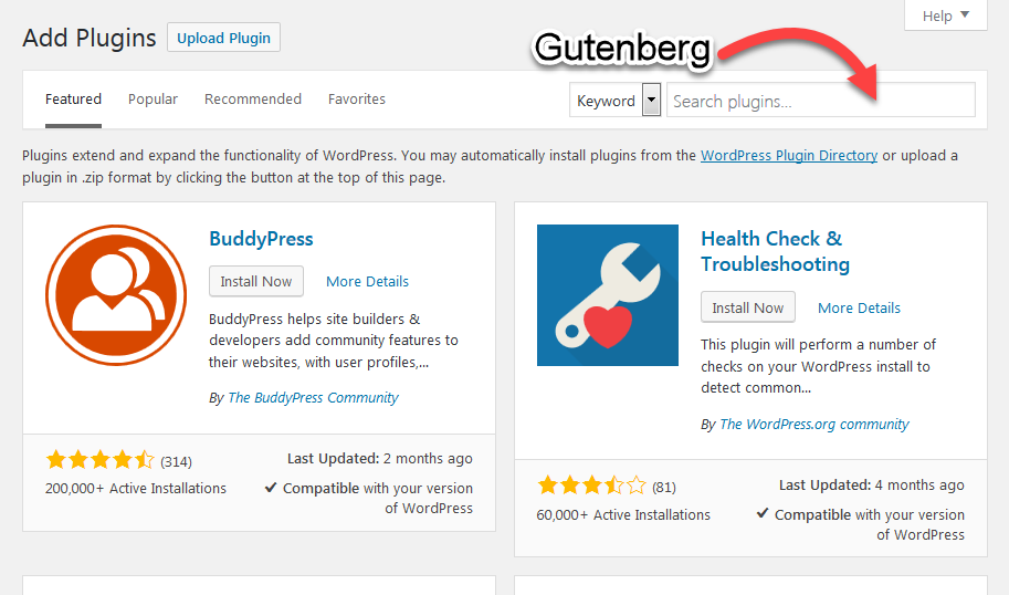 Install Gutenberg through plugins step 2