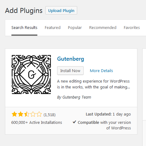 Install Gutenberg through plugins step 3