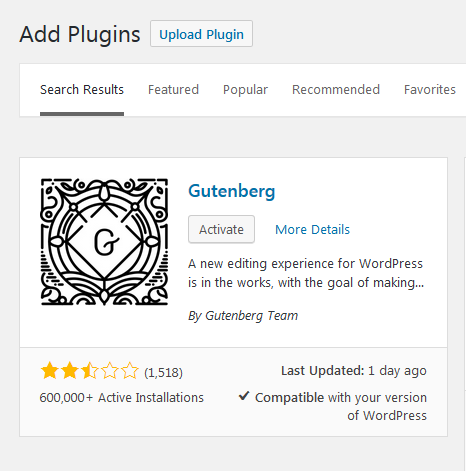 Install Gutenberg through plugins step 4