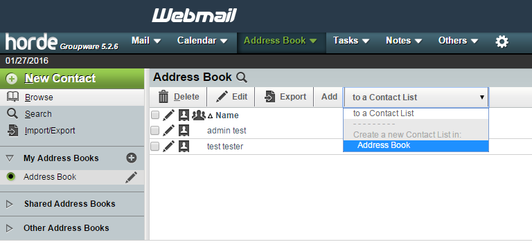 Add new contact list to address book