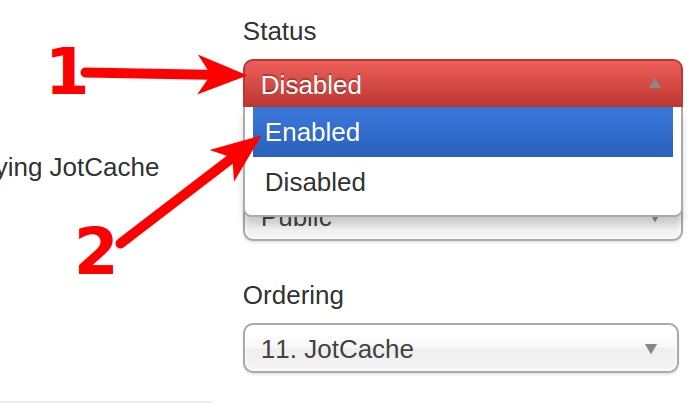 JotCache settings page