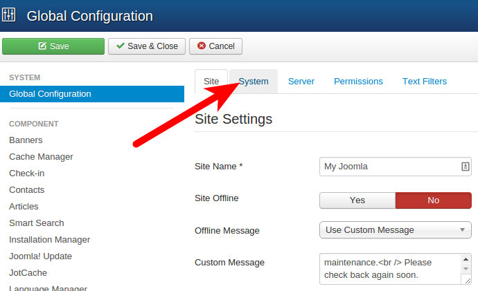 Accessing Joomla Configuration