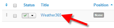 Accessing the settings for the Joomla 3 Weather 564 extension