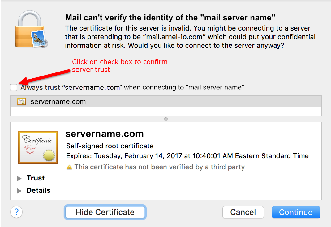 How to fix the mail cant verify the server in mac mail inmotion window seen when show certificate clicked xflitez Gallery