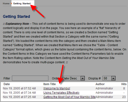 here is a picture of the getting started section before adding a page
