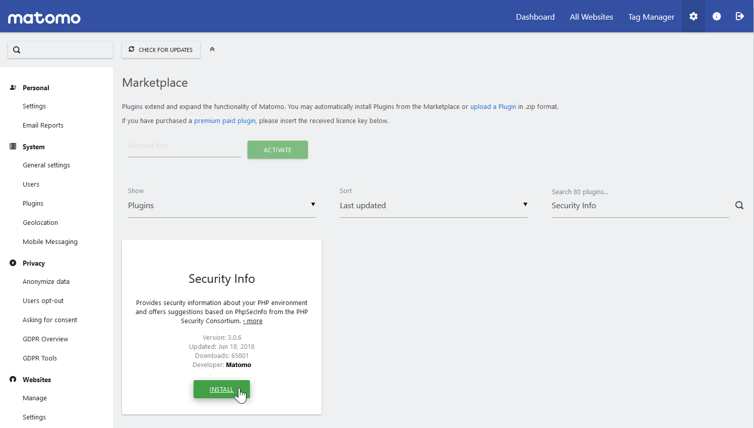 install Security Info plugin