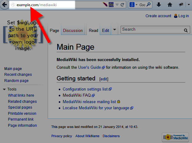 Image of MediaWiki before changing URL
