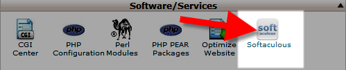 softaculous button in cpanel
