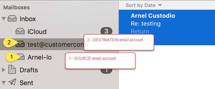 Email accounts for transferring emails