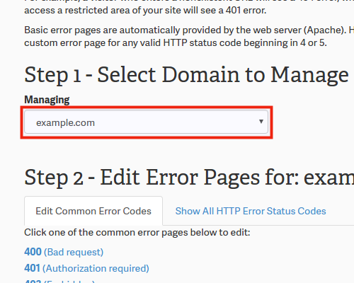 cPanel Domain Error Pages
