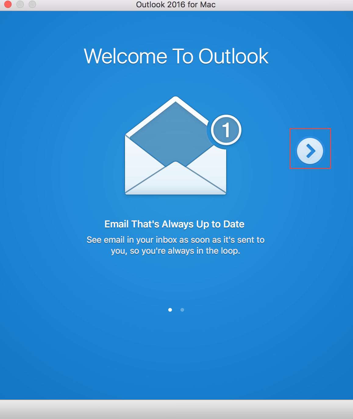Outlook wizard - first screen