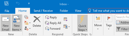 Outlook 2016 - top menu bar