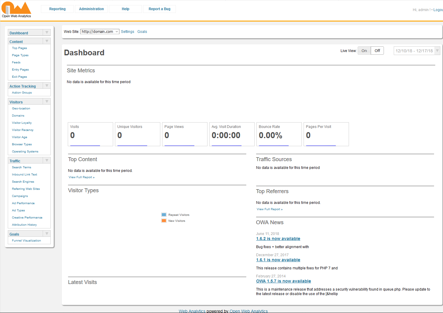 Open Web Analytics screenshot