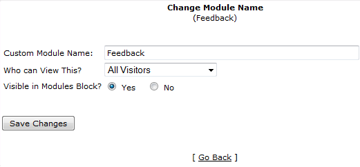 view of options for feedback page