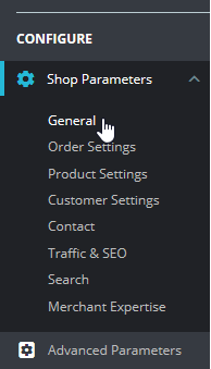 Select General under Shop Parameters
