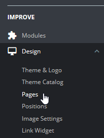 Select Pages under Design