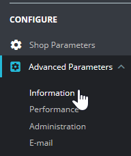 Select Advanced Parameters and Information