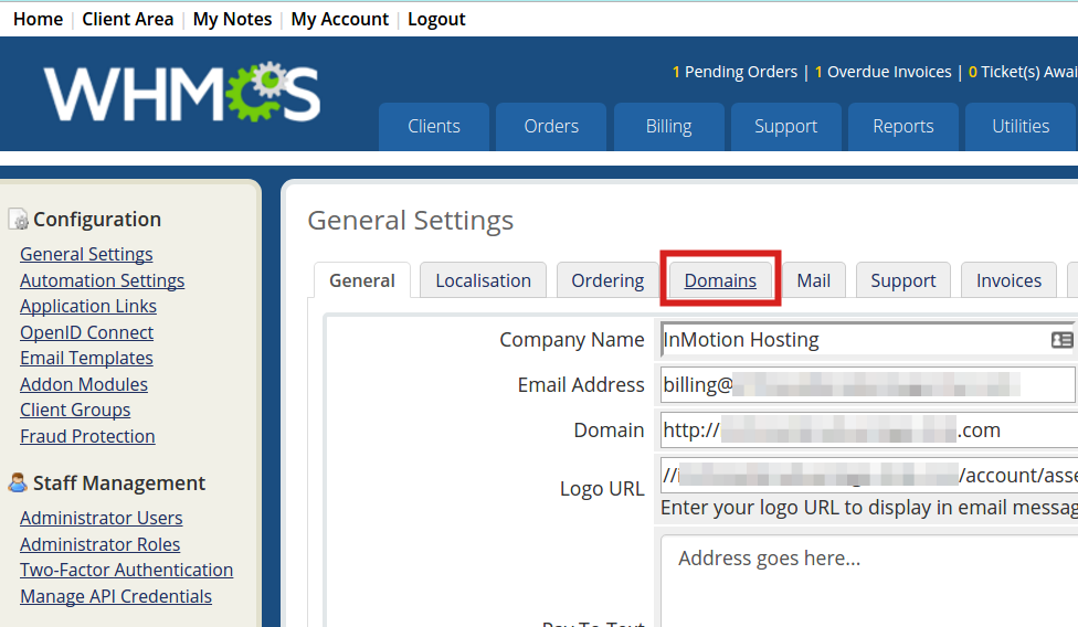 Domains tab in General Settings