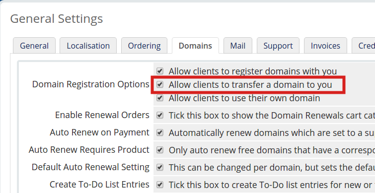 Enabling Domain Transfers