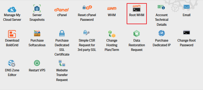 Screenshot of AMP account section selecting 'Root WHM'