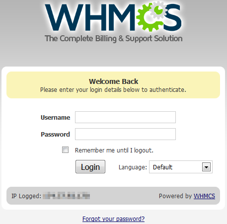 logging into whmcs