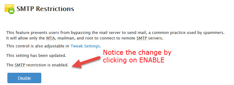 Enable SMTP Restrictions