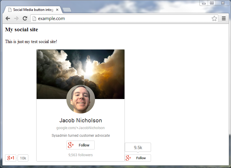 example site with googleplus +1 button badge and follow button