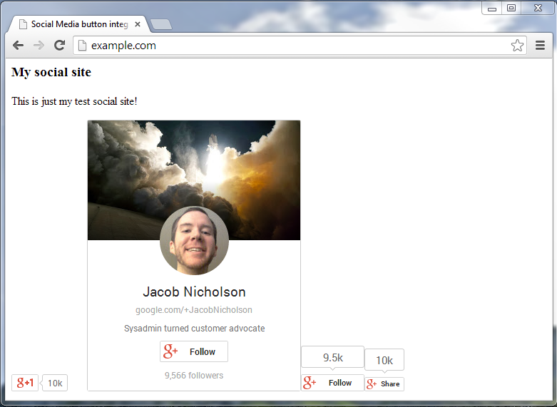 example site with googleplus 1 button badge follow and share button