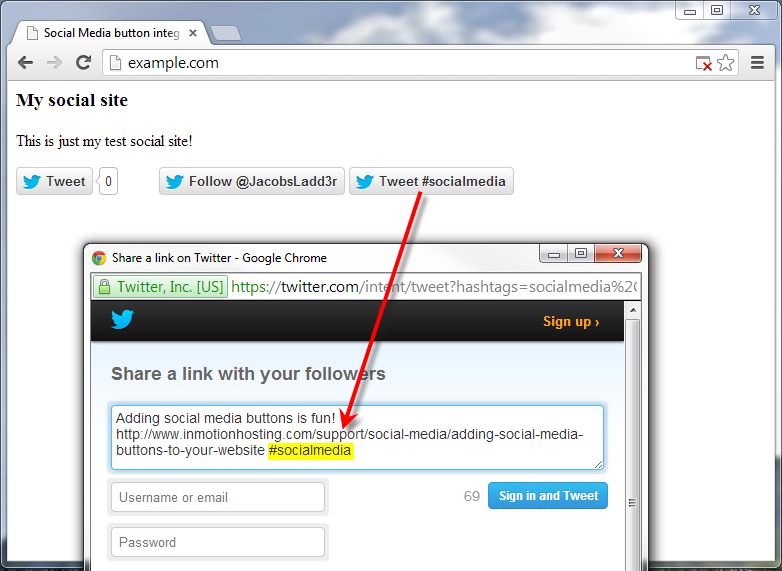example site with twitter hashtag button