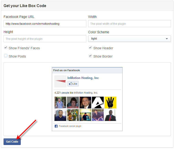 facebook click get code for like box
