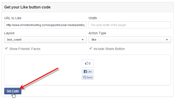 facebook click get code for like button