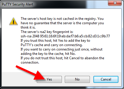 Host key is not cached message