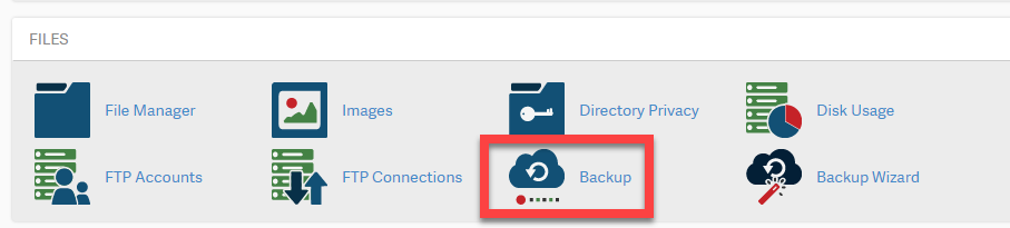 Click on backup icon in cPanel