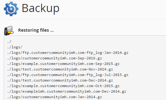 cpanel backups home directory restore completed