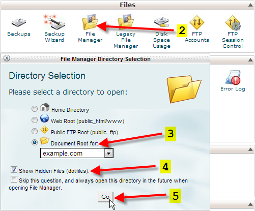 cpanel click on file manager and go
