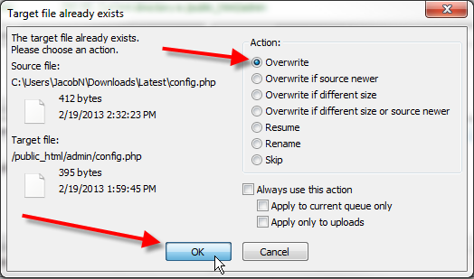 filezilla confirm overwrite file