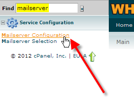 click on mailserver configuration