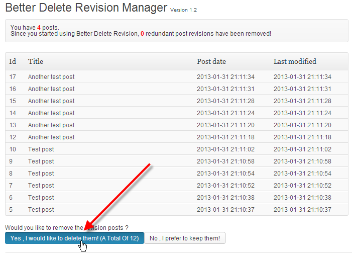 wordpress admin better delete revision click yes delete all