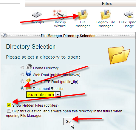 click on file manager and go