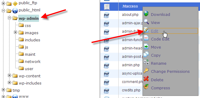 click on wp admin and edit htaccess file
