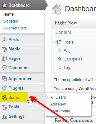 wordpress click on users