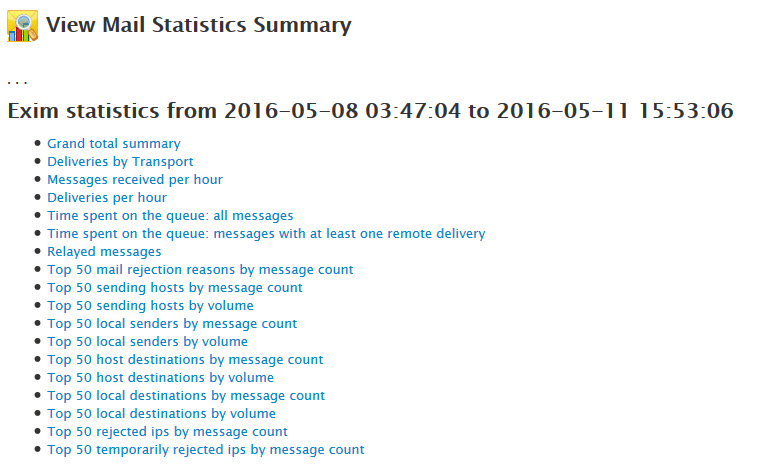 Mail Statistics Summary