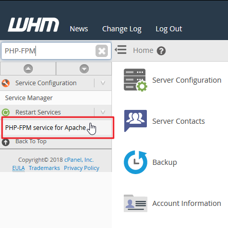 Screenshot in WHM selecting PHP-FPM service for Apache