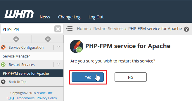 Screenshot in WHM selecting Yes to restart PHP-FPM service