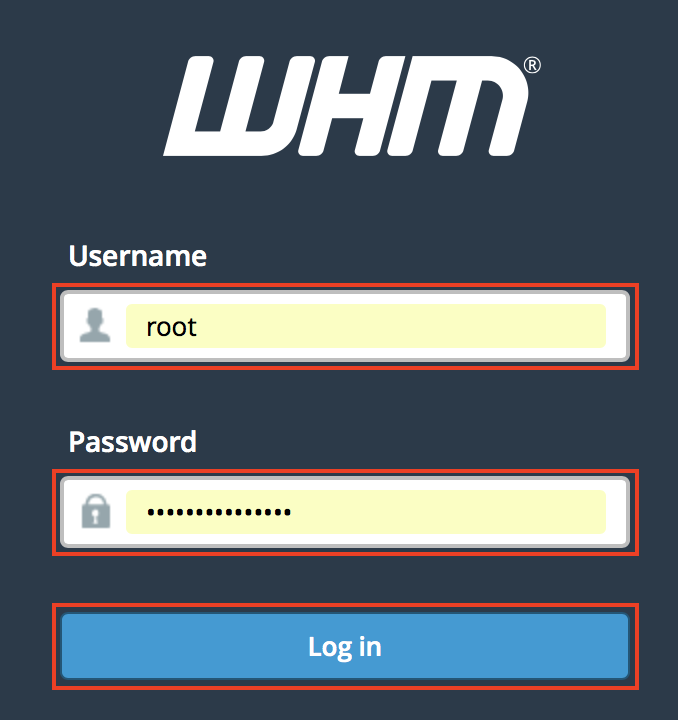 Web Host Manager (WHM) login screen, username (root) and password fields and Login button highlighted.