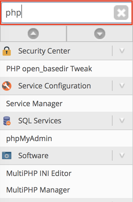 WHM search bar containing php highlighted.