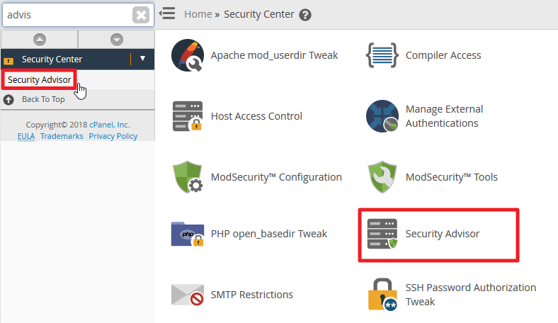 Screenshot in WHM selecting Security Advisor