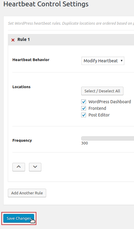 Heartbeat Control Settings Save Changes button highlighted