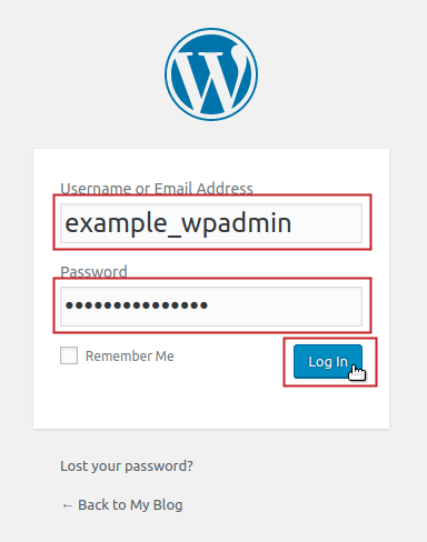 WordPress login screen with username and password fields filled in and Login button highlighted