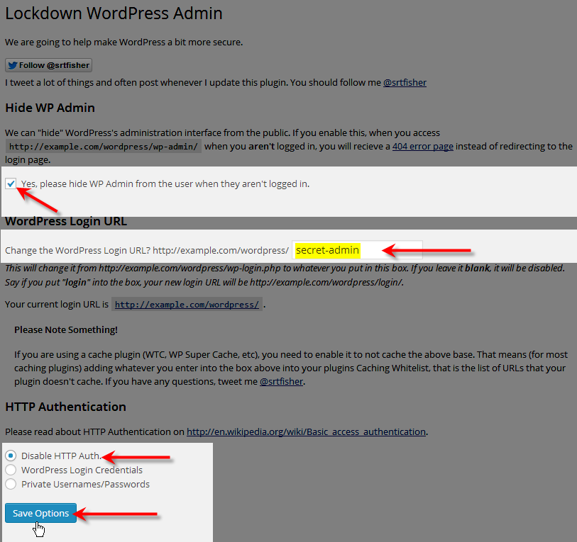 configure lockdown wp admin plugin click save options